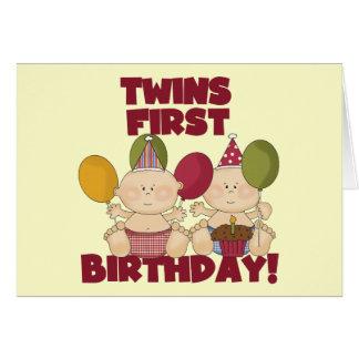 Primeiro aniversario dos gêmeos - t-shirt e presen cartão