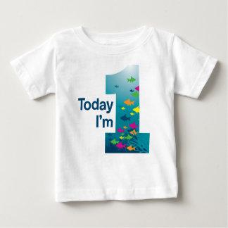 Primeiro aniversario dos peixes camiseta para bebê