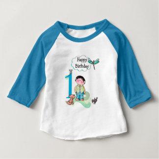 Primeiro aniversário feliz, jérsei do menino do camiseta para bebê