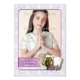 Primeiro comunhão, cartão com fotos roxo do convite 12.7 x 17.78cm