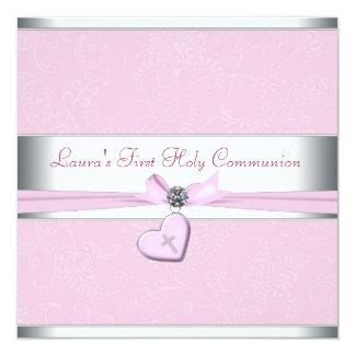Primeiro comunhão da cruz cor-de-rosa do rosa do convite quadrado 13.35 x 13.35cm