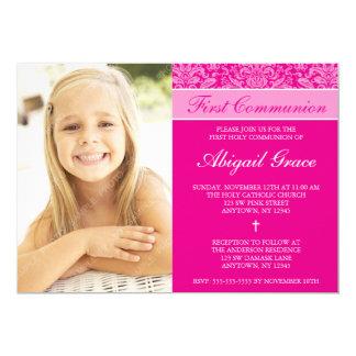 Primeiro comunhão da foto cor-de-rosa escura da convite 12.7 x 17.78cm