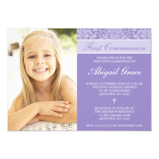 Primeiro comunhão da foto roxa da menina do convite 12.7 x 17.78cm