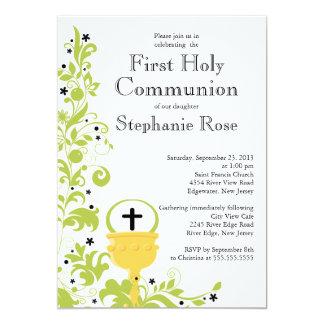 Primeiro comunhão santamente floral verde moderno convite 12.7 x 17.78cm