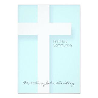Primeiro comunhão santamente moderno no azul convite 8.89 x 12.7cm