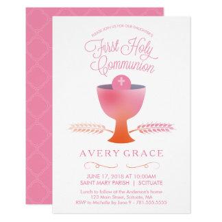 Primeiro convite do comunhão santamente - a menina