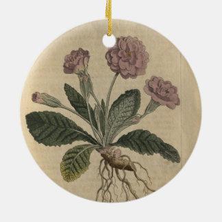 Prímula do Lilac Ornamento De Cerâmica Redondo