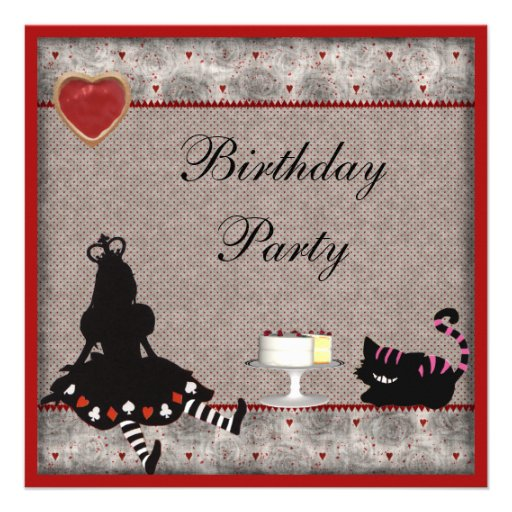 Princesa Alice & festa de aniversário do gato de Convite Personalizados