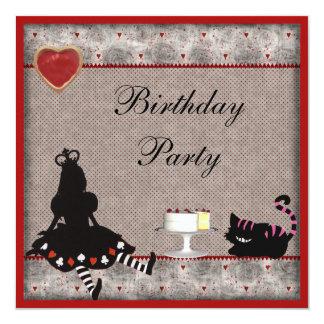 Princesa Alice & festa de aniversário do gato de Convite Quadrado 13.35 X 13.35cm