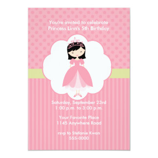 Princesa asiática convite de aniversário