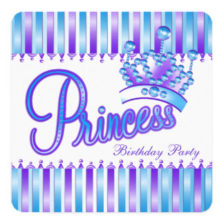Princesa azul e roxa festa de aniversário da convite quadrado 13.35 x 13.35cm
