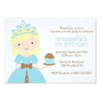 Princesa azul festa de aniversário do cupcake convite 12.7 x 17.78cm