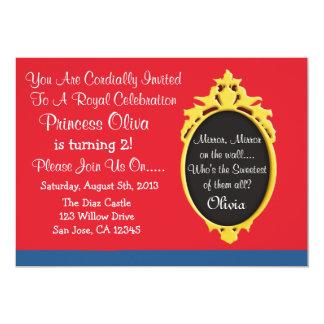 Princesa azul vermelha convite de festas