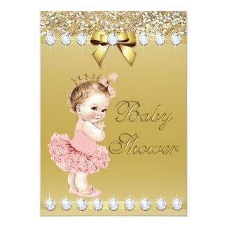 Princesa Bebê Ouro Falso Diamante e Sequins Convite 12.7 X 17.78cm