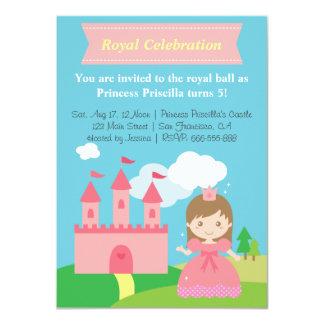 Princesa bonito e castelo, festa de aniversário da convites