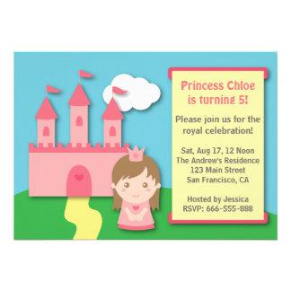 Princesa bonito e festa de aniversário do castelo convite personalizado