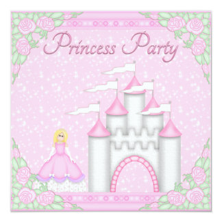 Princesa bonito & princesa cor-de-rosa Partido do Convite Quadrado 13.35 X 13.35cm