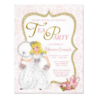 Princesa bonito tea party convite 10.79 x 13.97cm