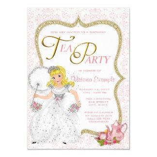 Princesa bonito tea party convite 11.30 x 15.87cm