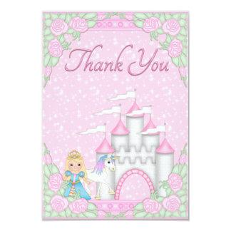 Princesa bonito, unicórnio & obrigado do castelo convite 8.89 x 12.7cm