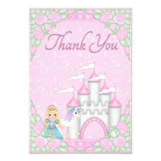 Princesa bonito unicórnio obrigado do castelo v convites personalizados