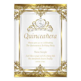 Princesa branca Quinceanera da pérola do ouro Convite 11.30 X 15.87cm