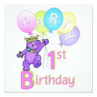Princesa Carregamento Balão do partido de primeiro Convite Quadrado 13.35 X 13.35cm