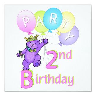 Princesa Carregamento Balão do partido de segundo Convite Quadrado 13.35 X 13.35cm