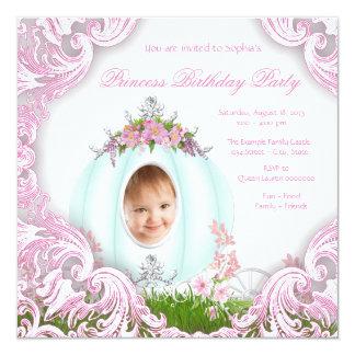 Princesa Carruagem Foto princesa festa de Convite Quadrado 13.35 X 13.35cm