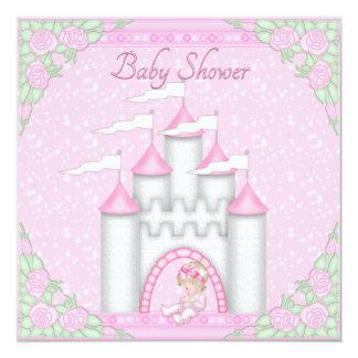 Princesa Castelo Bebê e chá de fraldas do rosa de Convites Personalizado