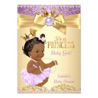 Princesa chá de fraldas da bailarina do ouro do convite 12.7 x 17.78cm