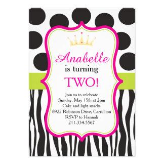 Princesa convite de festas das bolinhas da zebra