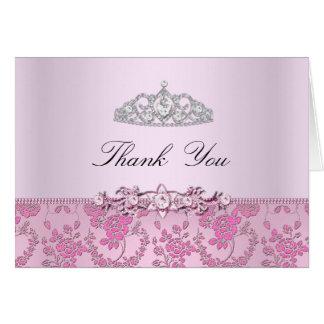 Princesa cor-de-rosa cartões de agradecimentos