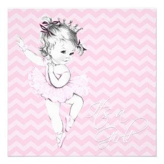Princesa cor-de-rosa chá de fraldas da bailarina convite personalizado