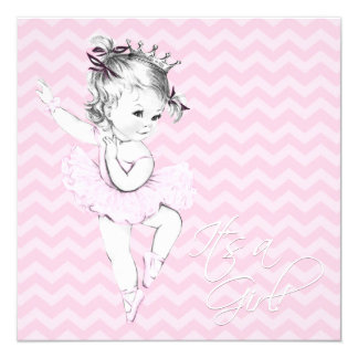 Princesa cor-de-rosa chá de fraldas da bailarina convite quadrado 13.35 x 13.35cm