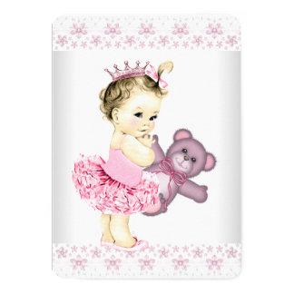 Princesa cor-de-rosa chá de fraldas do tutu do convite 12.7 x 17.78cm