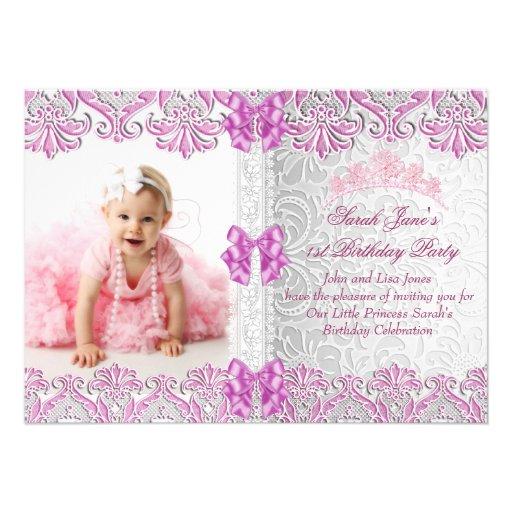 Princesa cor-de-rosa da foto dos primeiros partys  convite personalizados