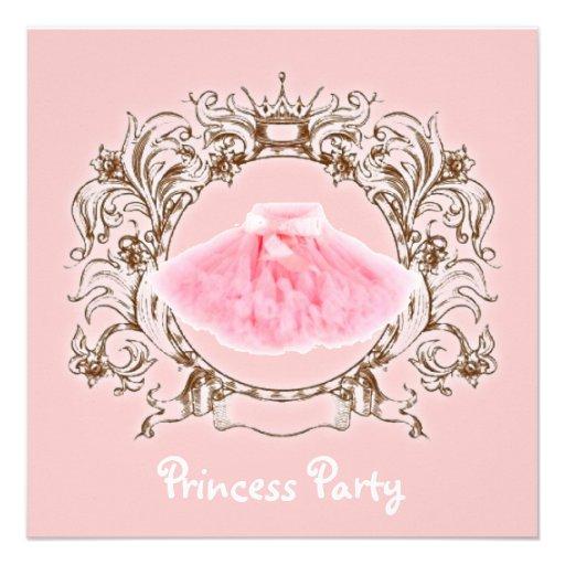 Princesa cor-de-rosa doce convite de aniversário d