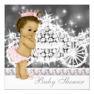 Princesa cor-de-rosa e cinzenta elegante chá de convite quadrado 13.35 x 13.35cm