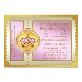 Princesa cor-de-rosa festa de aniversário convite 12.7 x 17.78cm