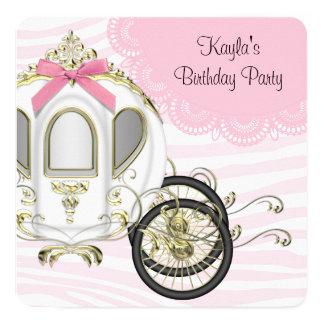 Princesa cor-de-rosa festa de aniversário da zebra convite quadrado 13.35 x 13.35cm