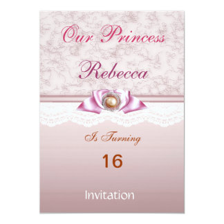 Princesa cor-de-rosa festa de aniversário das convite 12.7 x 17.78cm