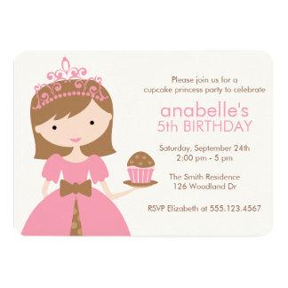 Princesa cor-de-rosa festa de aniversário do convite 12.7 x 17.78cm