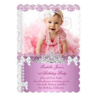 Princesa Cor-de-rosa Foto Primeiro do party girl Convite Personalizado