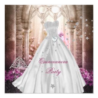 Princesa cor-de-rosa mágica Partido de Quinceanera Convite Quadrado 13.35 X 13.35cm