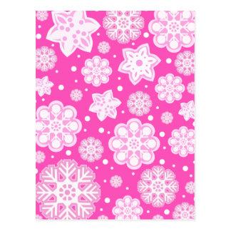 Princesa Cor-de-rosa Natal Floco de neve Teste Cartão Postal