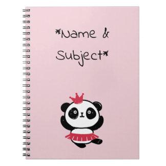 Princesa cor-de-rosa Panda Caderno
