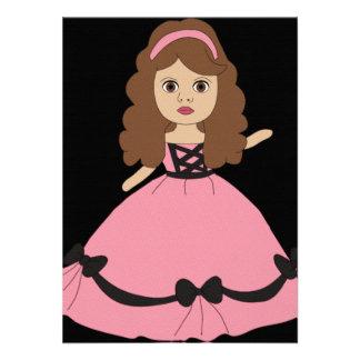 Princesa cor-de-rosa preta 1 do vestido convite personalizados