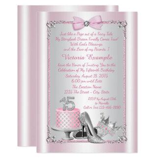 Princesa cor-de-rosa Quinceanera Convite