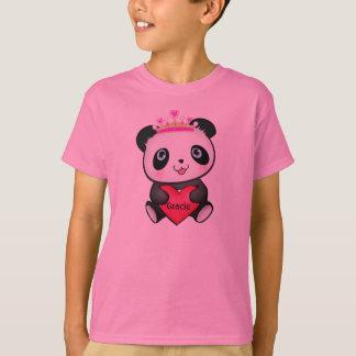 Princesa cor-de-rosa T-shirt da panda para o
